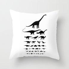 Dinosaur Eye Chart (monochrome) Throw Pillow