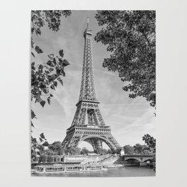 PARIS Eiffel Tower & River Seine | Monochrome Poster