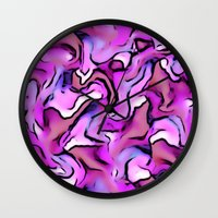 percy jackson Wall Clocks featuring Design PERCY abstract,pink by MehrFarbeimLeben