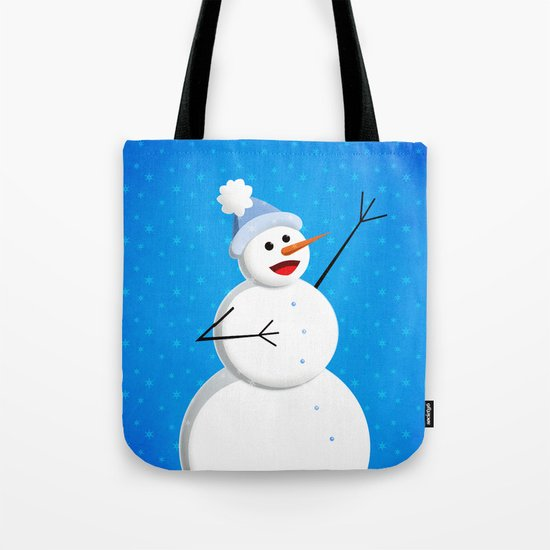 Blue Happy Singing Snowman Tote Bag
