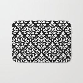 Scroll Damask Big Pattern White on Black Bath Mat