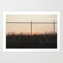 Sunset Behind Fences Art Print