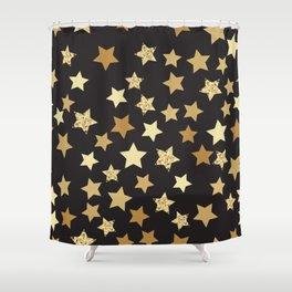 Golden Stars on Black Background Pattern Shower Curtain
