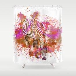 Crazy Zebra paint splatter artwork Shower Curtain