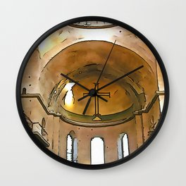 Golden Cross Of The Hagia Eirene Constantinople Black Outline Art Wall Clock