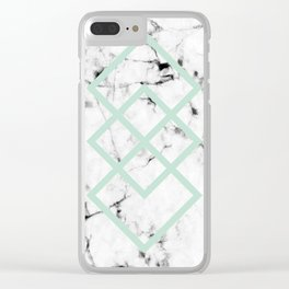 White Marble Concrete Look Mint Green Geometric Squares Clear iPhone Case