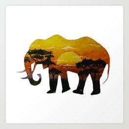 Savanna elephant Art Print
