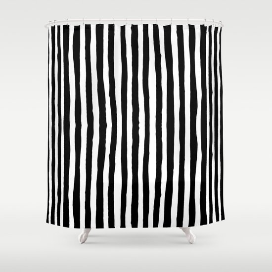 Black And White Vertical Stripes Shower Curtain By Abigaillarson