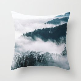 Foggy Forest Mountain (Color) Throw Pillow