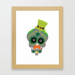 Irish Sugar Skull Funny St Patricks Day Framed Art Print