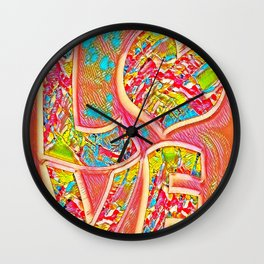 Orange love halo Wall Clock