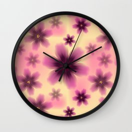 Colorful floral pattern with exotic tropical purple flowers Wall Clock