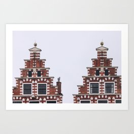 Symmetrical twin canal houses near Spaarne river in Haarlem in winter | Haarlem historical city, the Netherlands | Urban travel photography Art Print Art Print