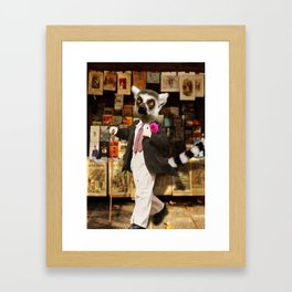 Monsieur Lemur thought that the boutonnière put a spring in his step and a waggle in his cane. Framed Art Print