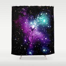 Eagle Nebula purple blue teal Shower Curtain