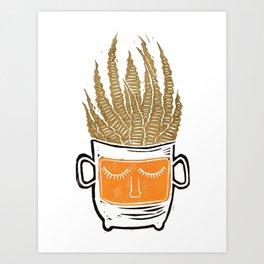 Mustard Yellow Sleepy Succulent Cacti Cactus Lino Print Art Print