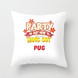 Pug Dog Party Throw Pillow