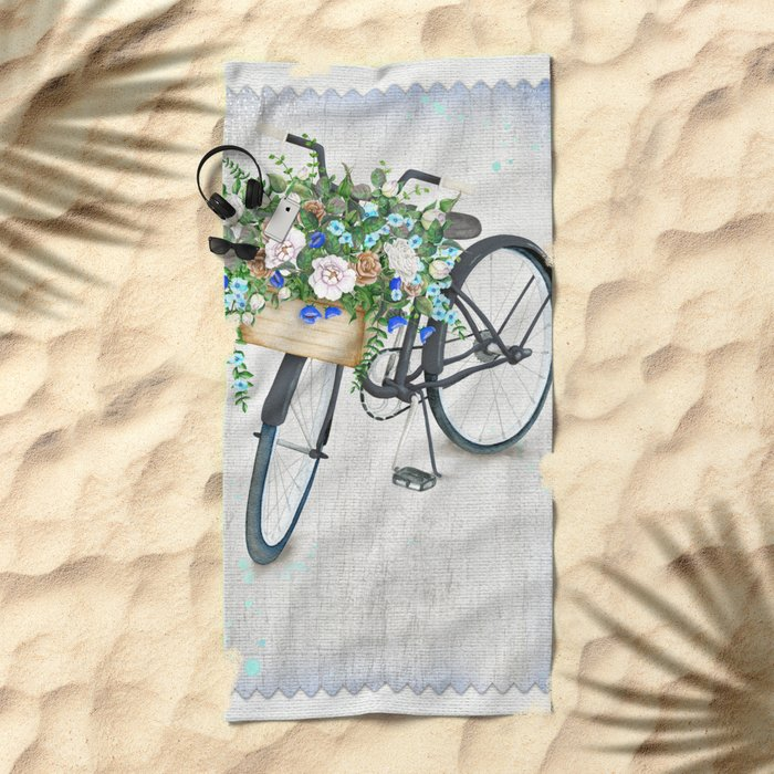Black bike & roses Beach Towel