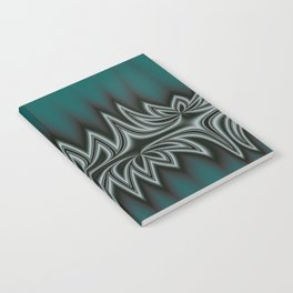 Fractal Tribal Art in Pacific Teal Notebook
