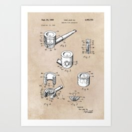 patent art Yow-Jiun Hu Smoking pipe apparatus 1968 Art Print