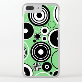 Geometric Black And White Rings On Pastel Green Clear iPhone Case