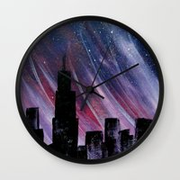 chicago Wall Clocks featuring Chicago by Tesseract