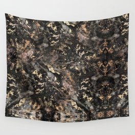Gold Vein Black Marble Design Wall Tapestry