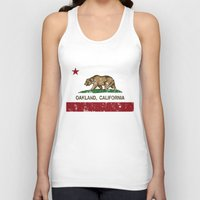 oakland Tank Tops featuring Oakland California Republic Flag Distressed  by NorCal