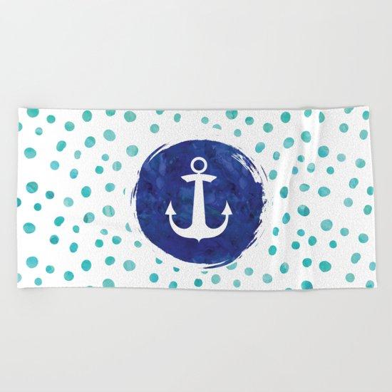 Watercolor Ship's Anchor Beach Towel