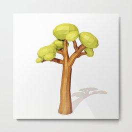 Low Poly Tree.3D Rendering Metal Print