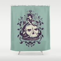 death Shower Curtains featuring Mrs. Death by Enkel Dika