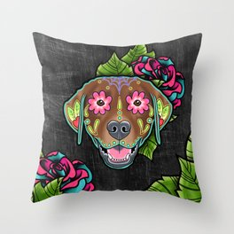 Labrador Retriever - Chocolate Lab - Day of the Dead Sugar Skull Dog Throw Pillow