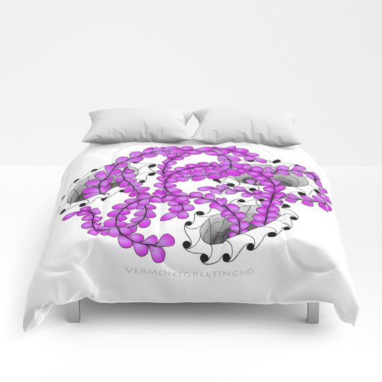 Zentangle Spring Fuchia Flower Illustration  Comforters