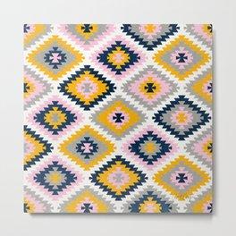 Kilim Protection Pattern – Blush Marigold Metal Print