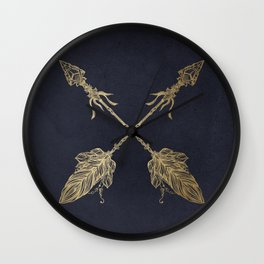 Arrows Gold Copper Bronze on Navy Blue Wall Clock