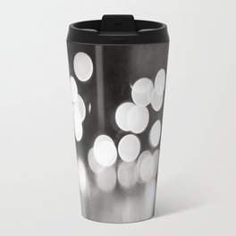 Black and White Sparkle Lights Photography, Neutral Bokeh Sparkly Photograph Travel Mug