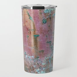 Abstract turquoise flowers on colorful rusty background Travel Mug