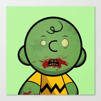 charlie brown Canvas Prints featuring Zombie Charlie Brown by rkbr