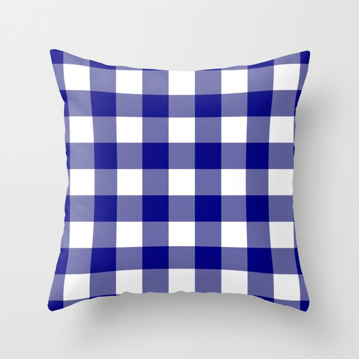 Gingham Navy Bluewhite Throw Pillow By 10813apparel Society6