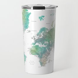 Watercolor world map in muted green and brown Travel Mug