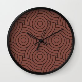 Circle Swirl Pattern Dark Rich Red, Inspired By Dunn Edwards Spice of Life DET439 Wall Clock