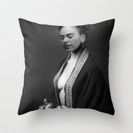 Frida Kahlo Portrait with fruit from Frida's Garden at Casa Azul, Mexico black and white photograph Throw Pillow