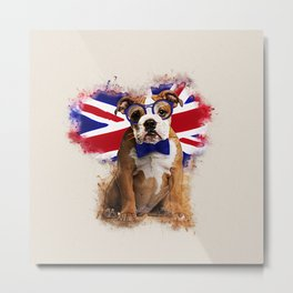 English Bulldog Puppy in Glasses Metal Print