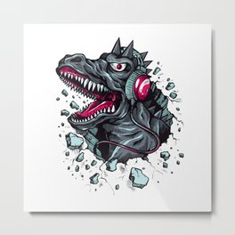Arsenic Druck Dino with Headphones Metal Print