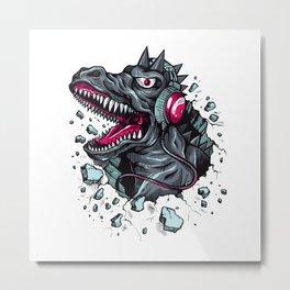 Arsenic Druck Dino with Headphones Metal Print