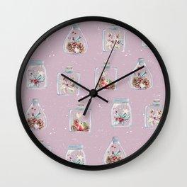 Christmas Pattern Pink Wall Clock