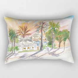 Key West Duval Street Cafe under Palms and Sun Rays Rectangular Pillow