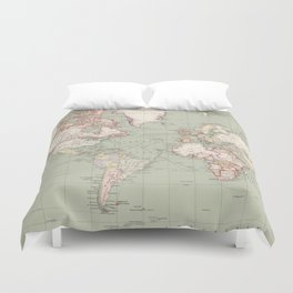 Vintage Map of The World (1915) Duvet Cover