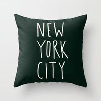 nyc Throw Pillows featuring NYC by Leah Flores