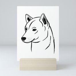 Shiba Inu (Black and White) Mini Art Print